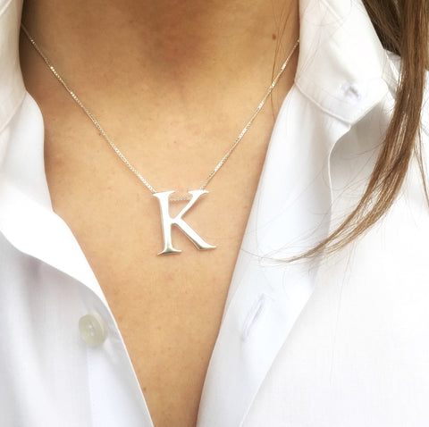 Leoni & Vonk personalised large sterling silver initial on sterling silver box chain