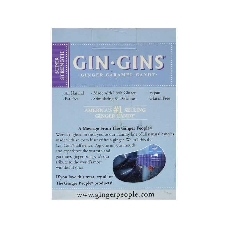 THE GINGER PEOPLE Gin Gins Ginger Candy Super Strength 84g Back