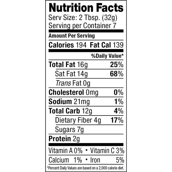 ARTISANA ORGANICS Raw Coconut Cacao Spread Nutritional Information