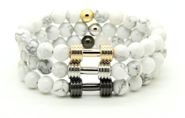 GAINS Dumbbell Bracelet 3 PC STACK - Marble White - Galaxy Accessories