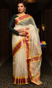 White Handwoven Chanderi Silk Saree