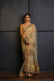 Beige Hand Embroidered Saree with Gold Hand Embroidered Borders-Festival Collection-Chandri