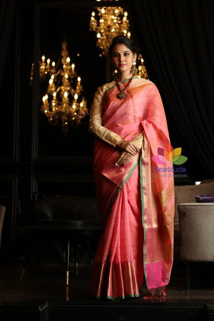 Pink Shade Cotton Banarasi Handwoven Saree