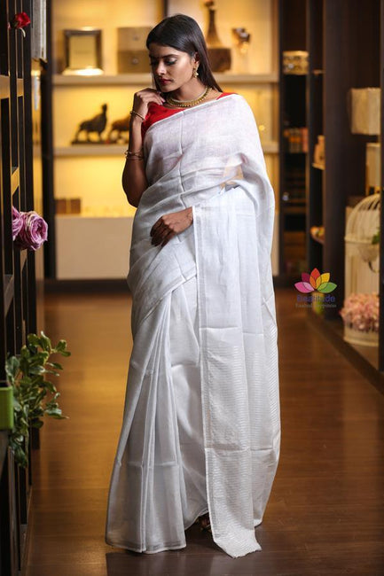 Silver Shade Handwoven Linen Saree with Zari Border
