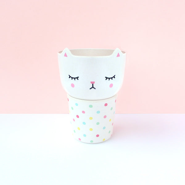 Polkaros Cup & Bowl Set – Cat