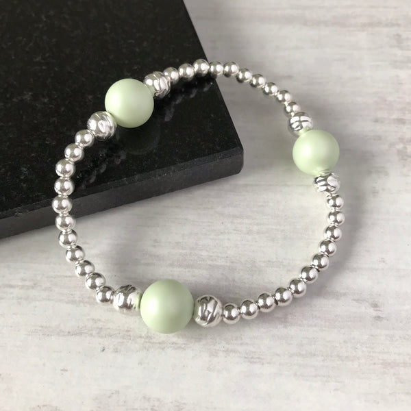 Silver Bead and Swarovski Green Pearl Bracelet - KookyTwo