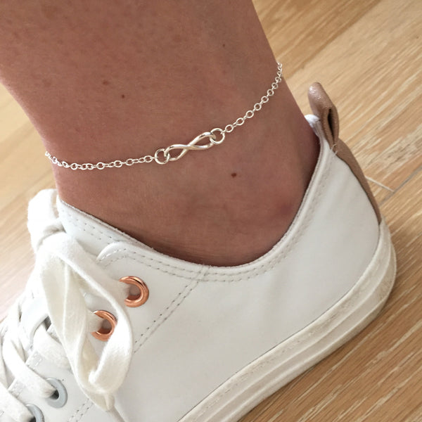 Silver Infinity Anklet - KookyTwo