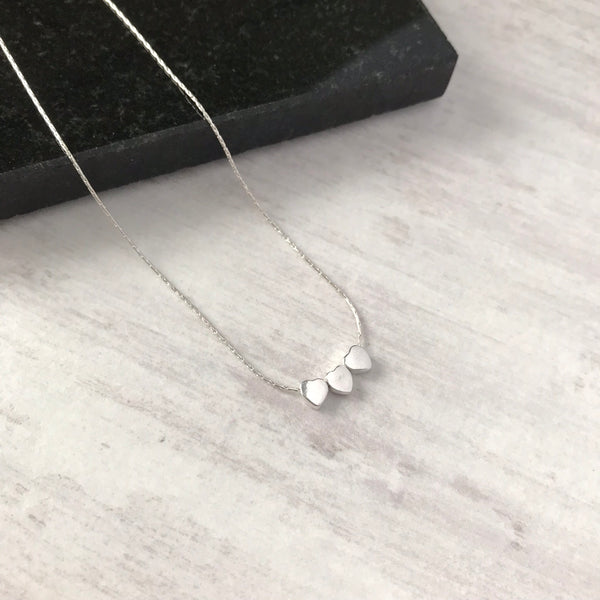 Silver Trio Tiny Heart Necklace - KookyTwo