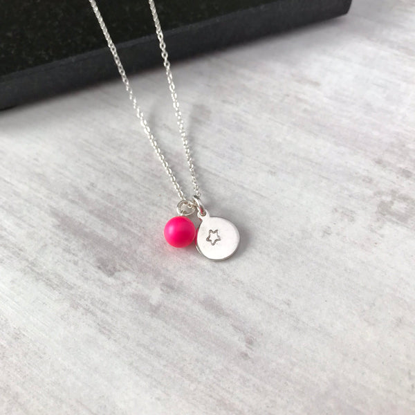 Silver Initial Disc Necklace with Swarovski Pearl - KookyTwo