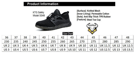 KTG Safety Steel Toe Kevlar Sole Sports Safety Shoes Model SS49 Size Chart. Asian, Japan, UK, US sizes available