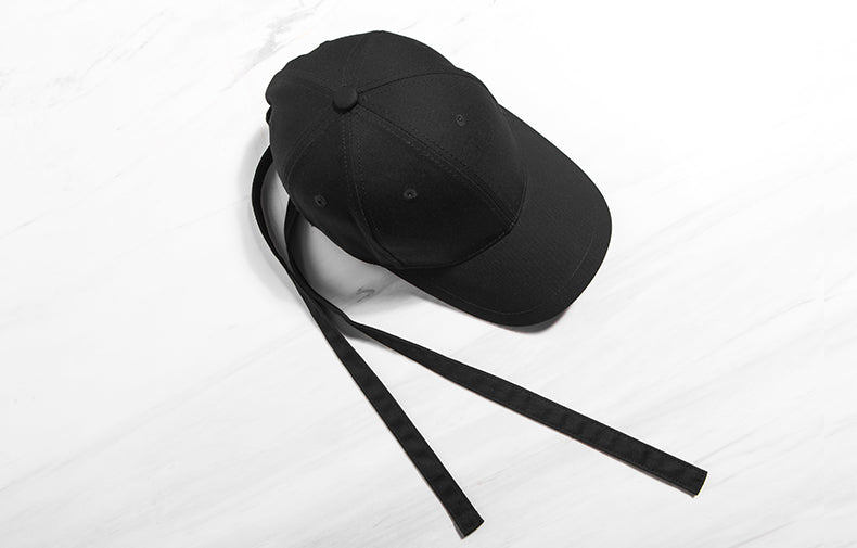 Long Strap Baseball Cap (Black) - simplifybox
