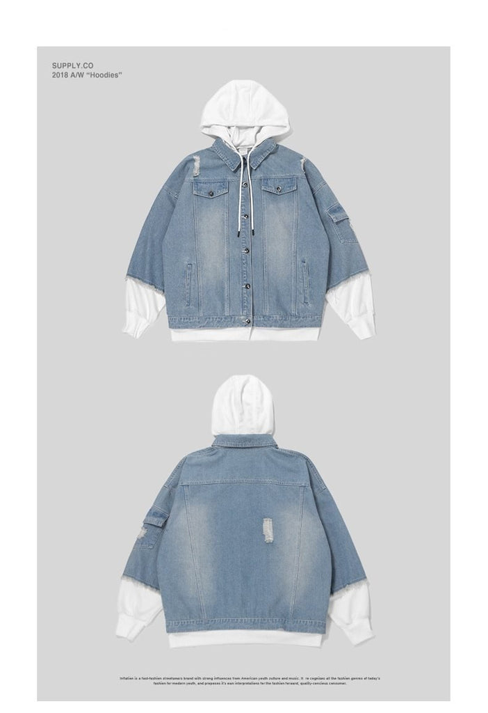 Two Color Block Patchwork Denim Hoodies Jacket - simplifybox