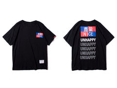 Harajuku T-shirts Men Unhappy Print Short - simplifybox
