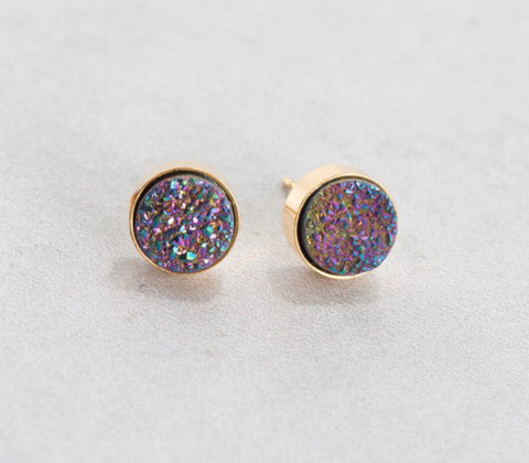 10k gold plated rainbow druzy stud earrings