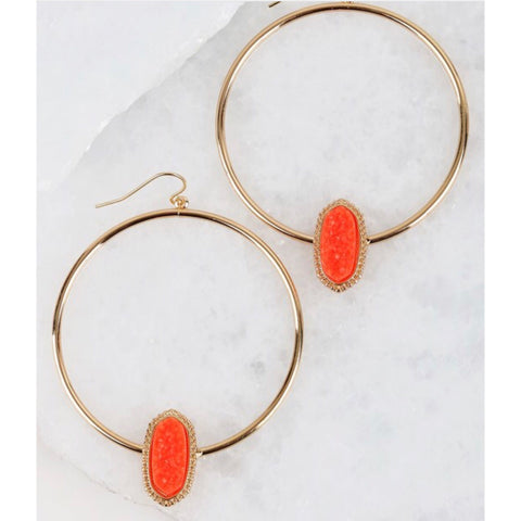 Druzy accented in coral circle hook earrings