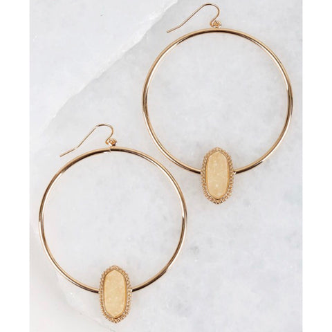 Druzy accented circle hook earrings in ivory