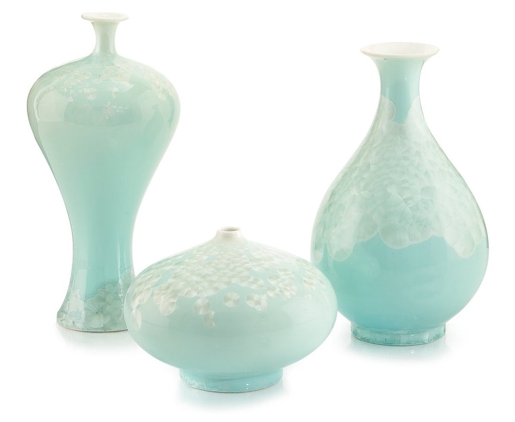 Swirling Leaves Aqua Vases
