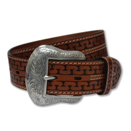 Twisted X Tooled Cognac Serpent Belt