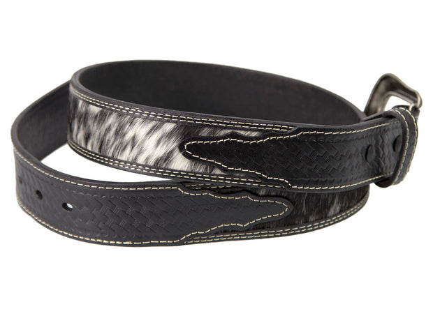 Brigalow Black Leather Belt with Cowhide Inserts