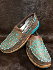 Twisted X Ladies Casual Driving Moc- Brown/ Turquoise
