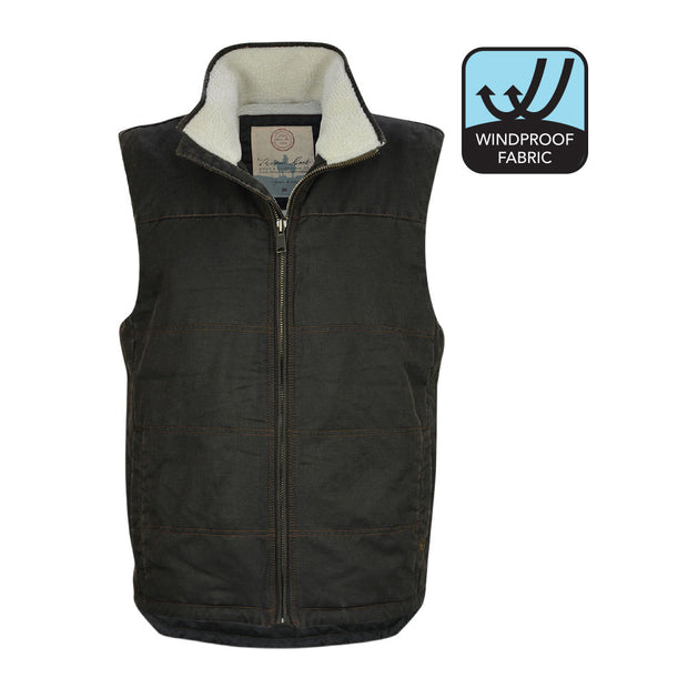 Thomas Cook Mens Glen Sherpa Faux Oilskin Vest - Rustic Brown