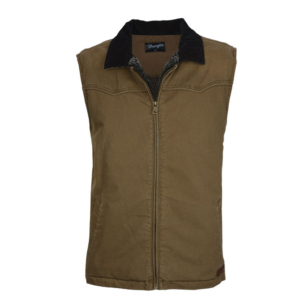 Wrangler Mens Dylan Canvas Vest - Tan/Coffee