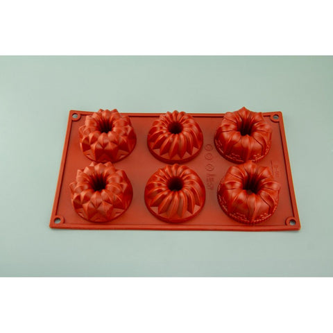 6 CAVITY ASSORTED BUNDT - SILICONE CHOCOLATE MOLD / FLEXIBLE BAKING MOULD