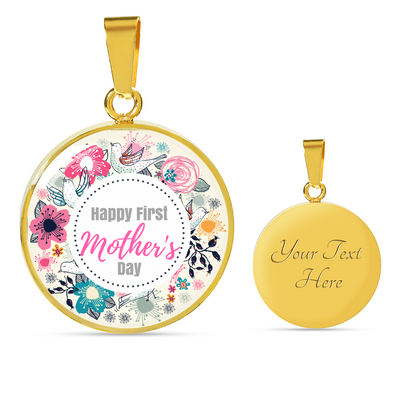 'Happy first Mother's Day' Family Quotes Mother Luxury Necklace