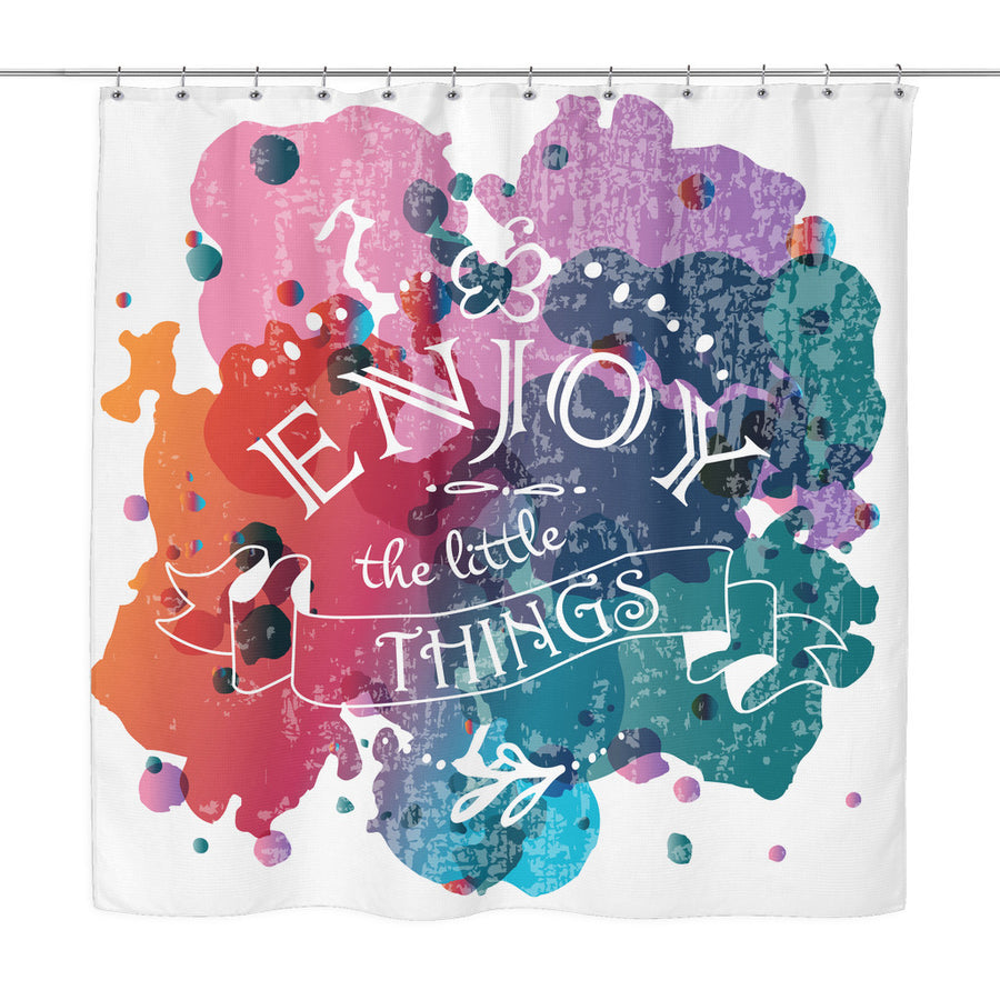 'Enjoy the Little Things' Motivational Quotes Colorful Shower Curtain