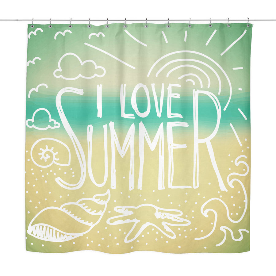 'I Love Summer' Summer Quotes Turquoise Shower Curtain