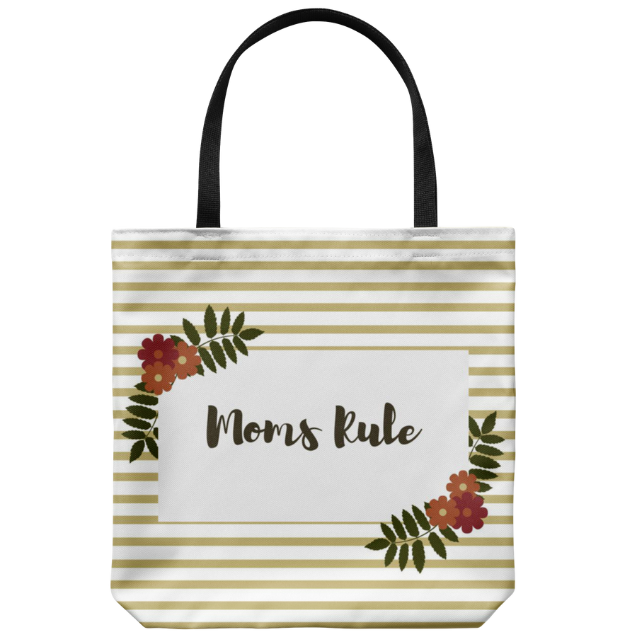 'Moms Rule' Mother Quotes Tote Bag