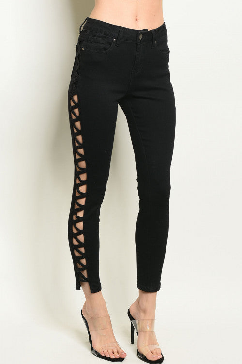 Black Side Cut Out Skinny Jeans