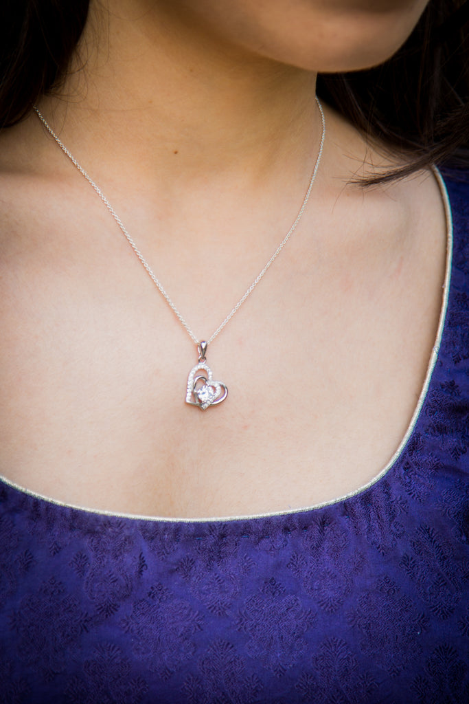 Heart Of Silver Diamond Necklace(Pure 92.5 Silver)