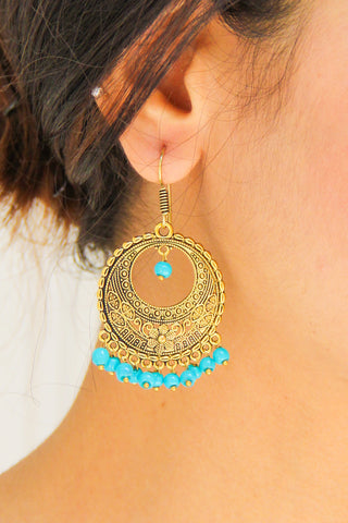 Golden Disc With Turquoise Beads Earrings