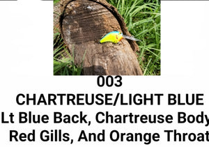 03 CHARTREUSE/LIGHT BLUE LITTLE RUNT (Formerly Little Earl) (depth 7-10ft)