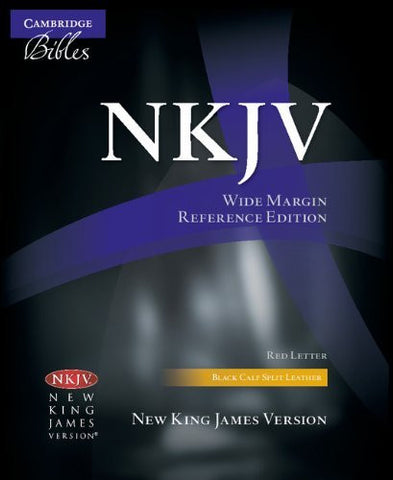 NKJV Wide-Margin Reference Black Calf Split NK744:XRM