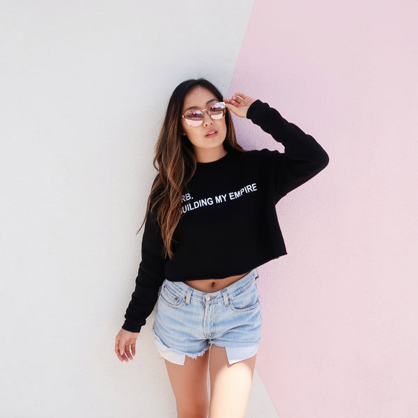 BRB Building My Empire - Black Crop Sweater
