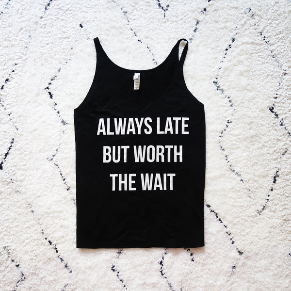 Always Late - Black Slouchy Tank Top