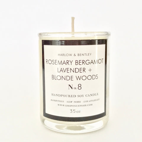 Rosemary Bergamot, Lavender + Blonde Woods Votive