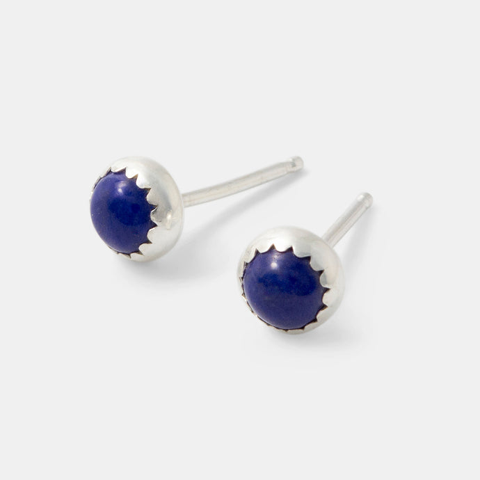 Sterling silver and lapis lazuli stud earrings handcrafted by handmade jewelry designer Simone Walsh.
