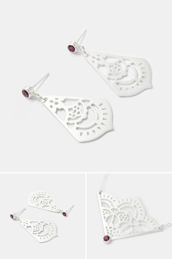 Unique bridal jewelry: handmade silver dangle earrings with rhodolite gemstones. Unique handmade silver jewelry design.
