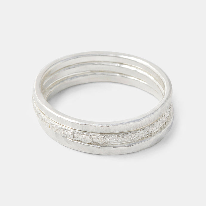 Handmade sterling silver stacking rings by handmade jewelry designer Simone Walsh.