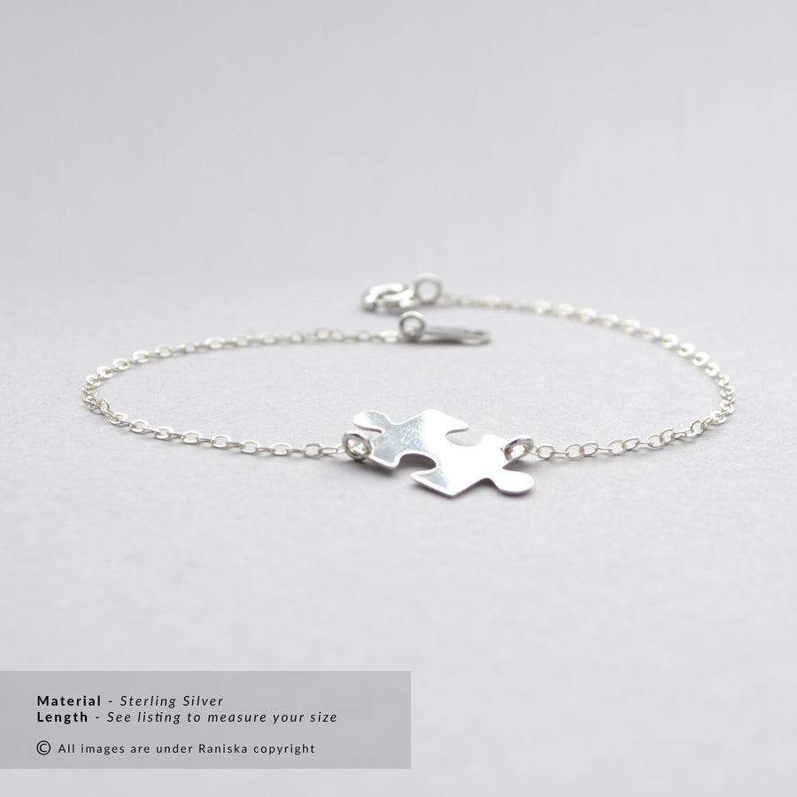 TYRA Sterling Silver Jigsaw Puzzle Piece Bracelet (Sterling Silver, Gold, Rose Gold)