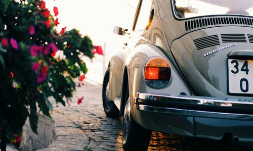 Vintage Volkswagen by some flowers