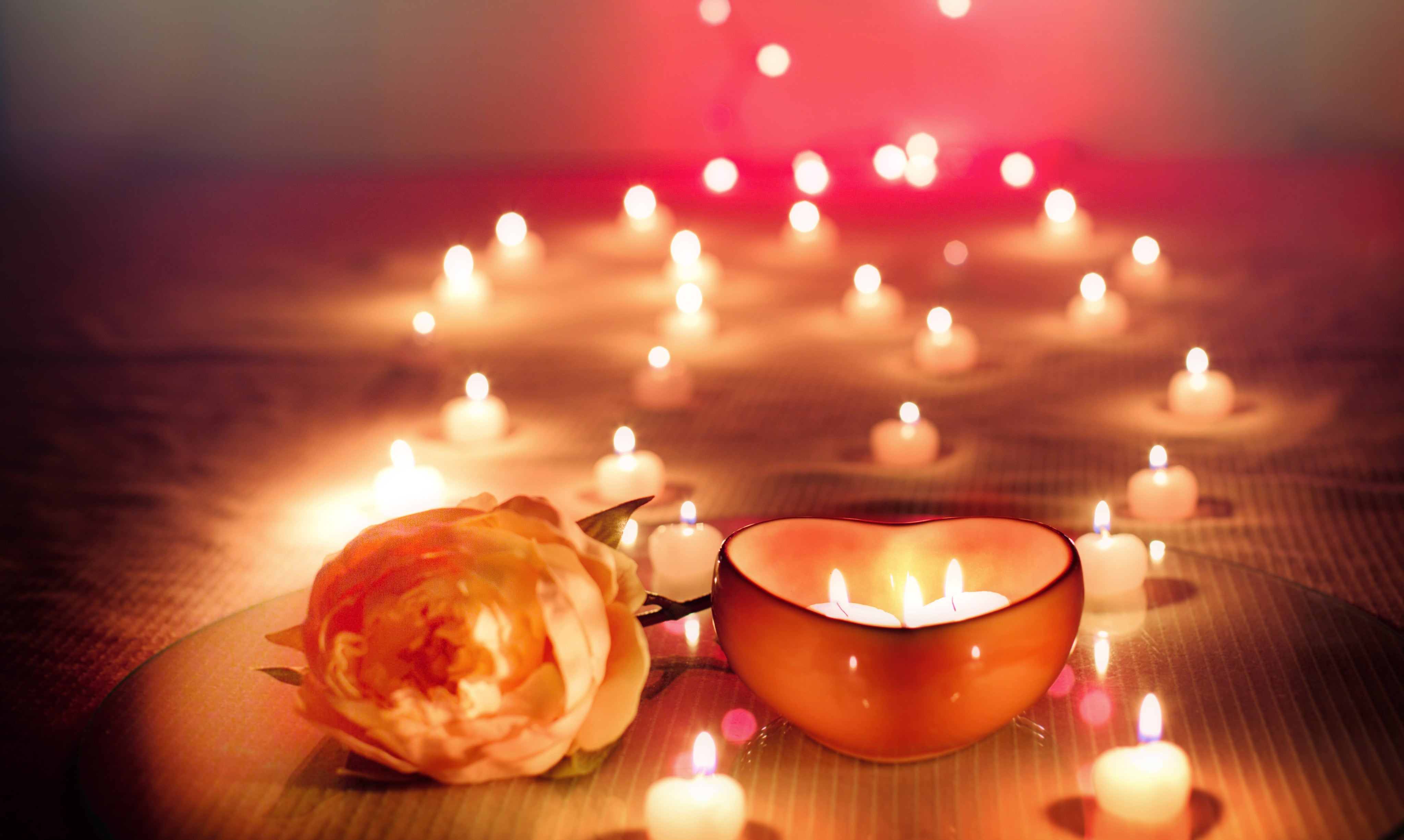 Heart candle and rose