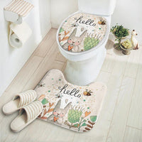 Seat Cover Mat Rug Bathroom Toilet Holiday Easter Rabbit Bunny Egg