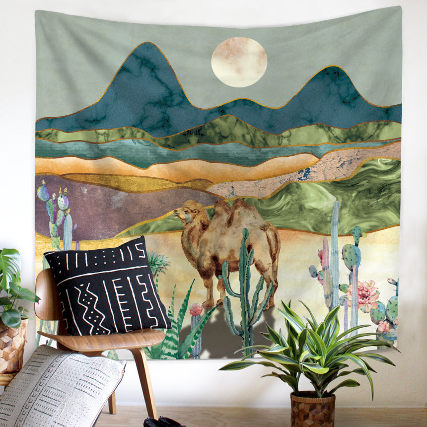 Mountain Tapestry Wall Hanging for Room Camel Nature Landscape