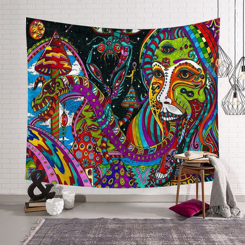 Abstract Unusual Creative Figure Psychedelic Tapestry