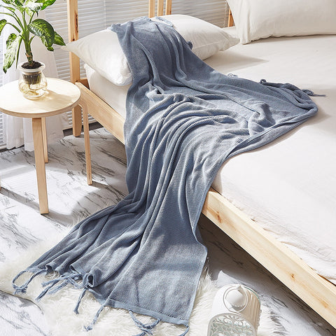 Knitted tassel sofa blanket leisure blanket