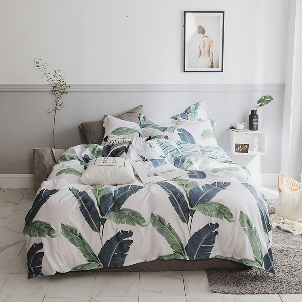 3 Piece 100% Cotton Leaves Printed Duvet Cover Set
